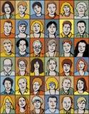 Conjunto de retratos irreconocibles de la gente. Fotos de archivo