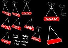 Conjunto de rojo que hace publicidad de etiquetas Ilustración del Vector