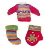 Conjunto de ropa caliente del invierno Foto de archivo libre de regalías