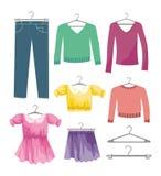 Conjunto de ropa del vector Fotos de archivo