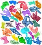 Conjunto de ropa Diversa ropa coloreada colorida en vagos blancos ilustración del vector