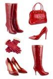 Conjunto de ropa y de accesorios rojos Imágenes de archivo libres de regalías