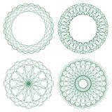 Conjunto de rosetones verdes del guilloquis del vector Imágenes de archivo libres de regalías