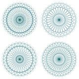 Conjunto de rosetones verdes del guilloquis del vector Imagenes de archivo