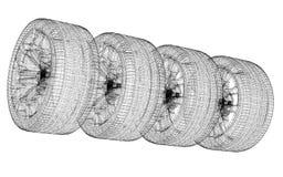 Conjunto de ruedas de coche Imagen de archivo libre de regalías