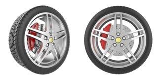 Conjunto de ruedas de coche Imágenes de archivo libres de regalías