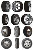 Conjunto de ruedas de coche del vector Foto de archivo libre de regalías