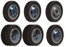 Conjunto de ruedas del carro Imagenes de archivo