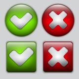 Conjunto de sí y de ningunos botones Foto de archivo