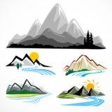 Conjunto de símbolo abstracto de la montaña y de las colinas Fotografía de archivo libre de regalías