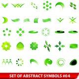 Conjunto de símbolos abstractos verdes Imágenes de archivo libres de regalías