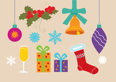 Conjunto de símbolos de la Navidad Imagen de archivo libre de regalías