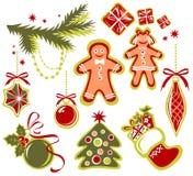 Conjunto de símbolos de la Navidad Fotografía de archivo
