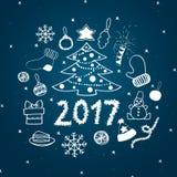 Conjunto de símbolos de la Navidad Imagen de archivo