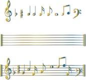 Conjunto de símbolos de las notas musicales Fotos de archivo