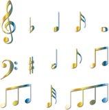 Conjunto de símbolos de las notas musicales Imagen de archivo libre de regalías