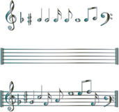 Conjunto de símbolos de las notas musicales Fotografía de archivo libre de regalías