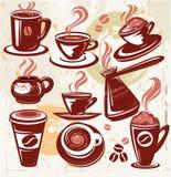 Conjunto de símbolos del café Imágenes de archivo libres de regalías