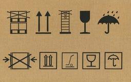 Conjunto de símbolos del embalaje Fotografía de archivo