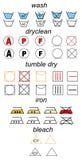 Conjunto de símbolos del lavadero Fotos de archivo libres de regalías