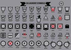 Conjunto de símbolos del lavadero Imagen de archivo