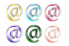 Conjunto de símbolos del at-sign con efecto del metal 3D Fotografía de archivo