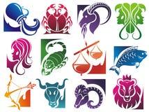 Conjunto de símbolos del zodiaco Imagenes de archivo