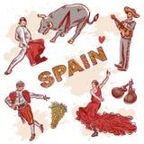 Conjunto de símbolos españoles ilustración del vector