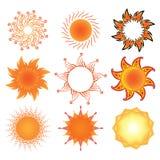 Conjunto de símbolos estilizados del sol Imagen de archivo