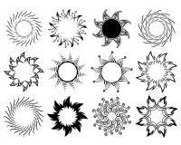 Conjunto de símbolos gráficos del sol Fotografía de archivo libre de regalías