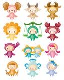 Conjunto de símbolos lindos aislados del zodiaco libre illustration