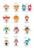 Conjunto de símbolos lindos aislados del zodiaco ilustración del vector