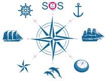 Conjunto de símbolos náuticos Fotografía de archivo libre de regalías
