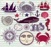 Conjunto de símbolos náuticos y del mar Imagen de archivo libre de regalías