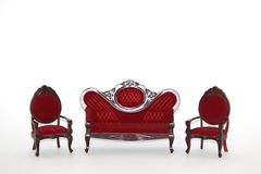 Conjunto de sala de estar de los muebles de la casa de muñeca Fotografía de archivo libre de regalías