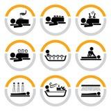 Conjunto de salud y de pictogramas del balneario I Imagenes de archivo