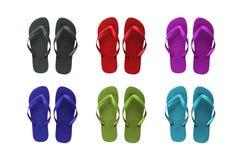 Conjunto de sandalias coloreadas de la playa Imagen de archivo libre de regalías