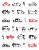 Conjunto de señales del bosquejo y de tráfico de los coches Imagen de archivo libre de regalías
