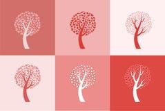 Conjunto de seis árboles de amor Fotografía de archivo