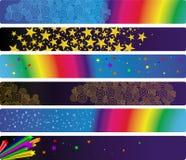 Conjunto de seis banderas retras Stock de ilustración