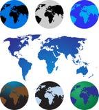 Conjunto de seis globos con la correspondencia de mundo Imágenes de archivo libres de regalías