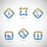 Conjunto de seis símbolos abstractos Fotos de archivo libres de regalías