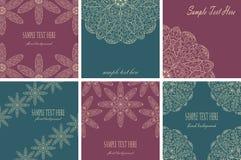 Conjunto de seis tarjetas de la vendimia Foto de archivo