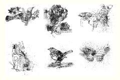 Conjunto de seises pájaro, flor y mariposas artísticos stock de ilustración