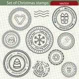 Conjunto de sellos de la Navidad. stock de ilustración