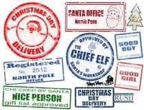 Conjunto de sellos de la Navidad Fotografía de archivo