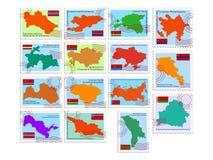 Conjunto de sellos de la república soviética stock de ilustración