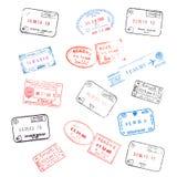 Conjunto de sellos de visa del pasaporte Imágenes de archivo libres de regalías