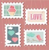 Conjunto de sellos del día del `s de la tarjeta del día de San Valentín Foto de archivo
