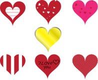 Conjunto de siete corazones Imágenes de archivo libres de regalías